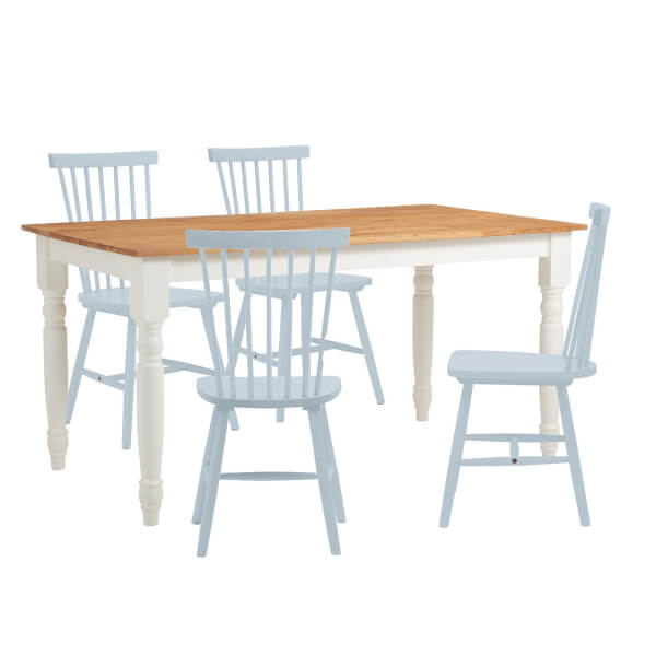 Laura 4 Seater Dining Set - Blue Spindle Chairs