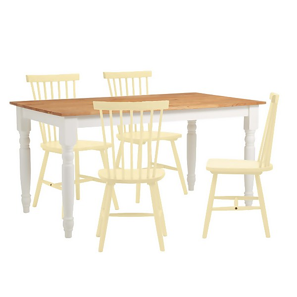 Laura 4 Seater Dining Set - Lemon Spindle Chairs