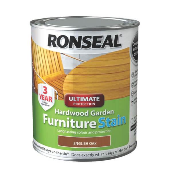 Ronseal Hardwood Garden Furniture Stain English Oak - 750ml