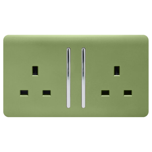 Trendi Switch 2 Gang 13Amp Long Switched Socket in Moss Green