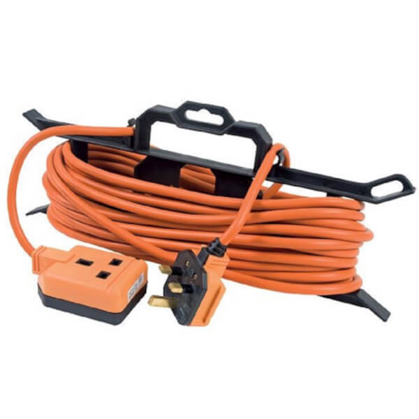Masterplug 1 Socket Heavy Duty Extension Lead with Cable Carrier 15m Orange/Black