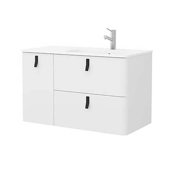 Bathstore Sketch 900 Left Hand Inset Basin and Unit  - Matt White