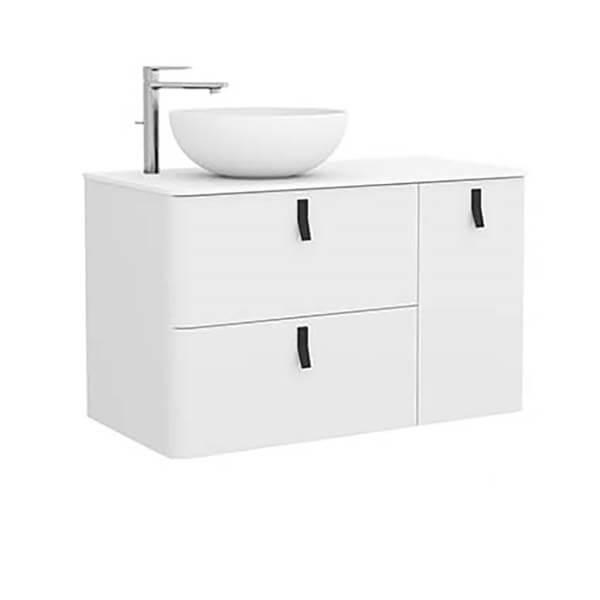 Bathstore Sketch 900 Right Hand Wash Bowl and Unit  - Matt White