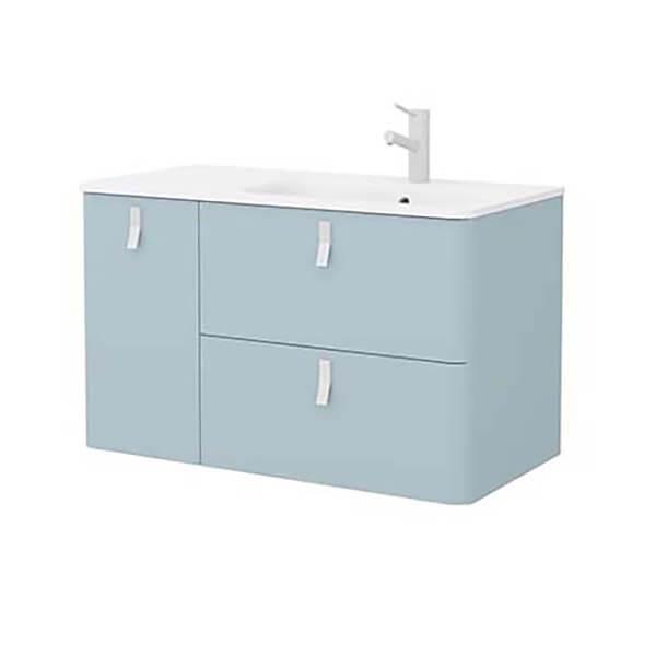 Bathstore Sketch 900 Left Hand Inset Basin and Unit - Powder Blue