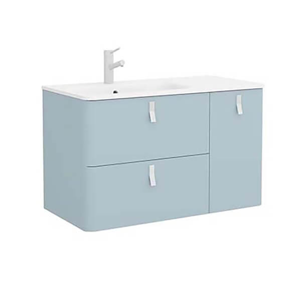 Bathstore Sketch 900 Right Hand Inset Basin and Unit - Powder Blue