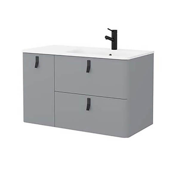 Bathstore Sketch 900 Left Hand Inset Basin and Unit - Pale Grey