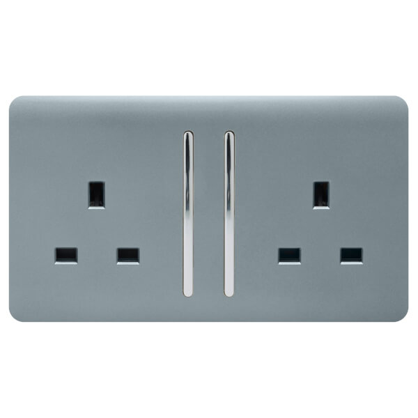 Trendi Switch 2 Gang 13Amp Long Switched Socket in Cool Grey