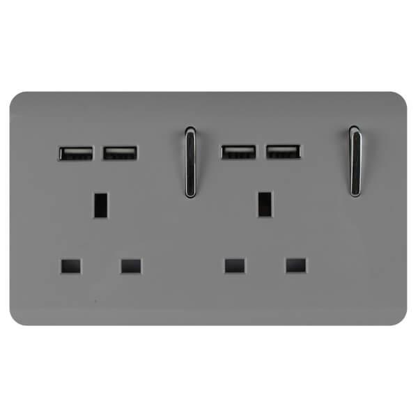 Trendi Switch 2 Gang 13Amp Socket (inc. USB ports) in Light Grey
