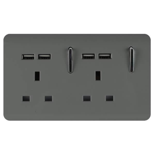 Trendi Switch 2 Gang 13Amp Socket (inc. USB ports) in Charcoal
