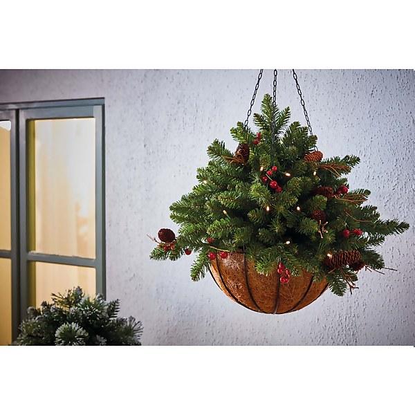 Homeland Flora Decorated Pre-Lit Christmas Hanging Basket