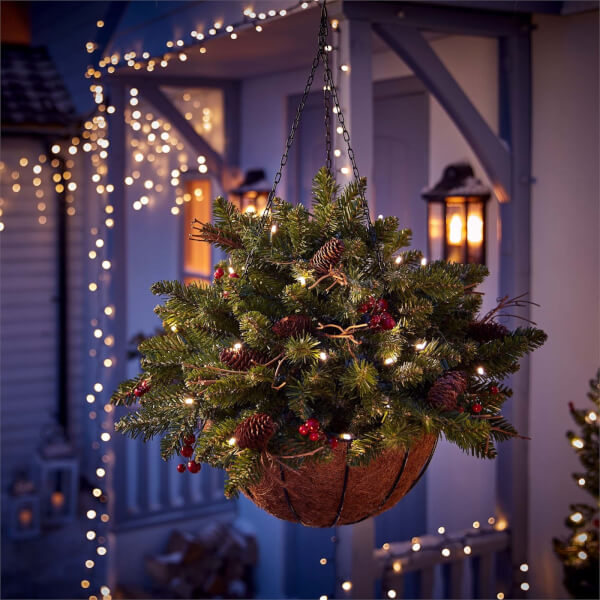 Berry Decorated Pre Lit Hanging Basket