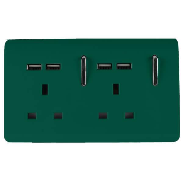 Trendi Switch 2 Gang 13Amp Socket (inc. USB ports) in Dark Green