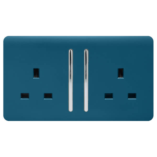 Trendi Switch 2 Gang 13Amp Long Switched Socket Midnight Blue