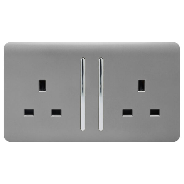 Trendi Switch 2 Gang 13Amp Long Switched Socket in Light Grey