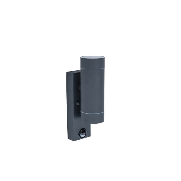 Lutec Rado Up And Down Outdoor Wall Light With PIR Motion Sensor In Black