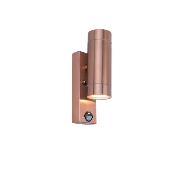 Lutec Rado Up And Down Outdoor Wall Light With PIR Motion Sensor In Copper