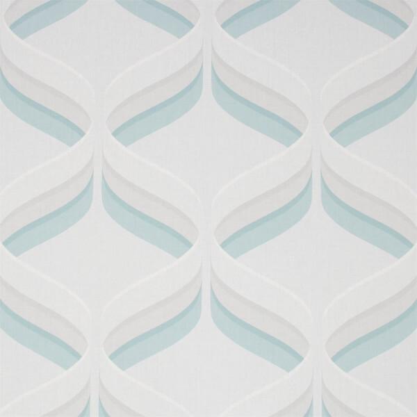 Fresco Retro Ogee Sky Blue Wallpaper