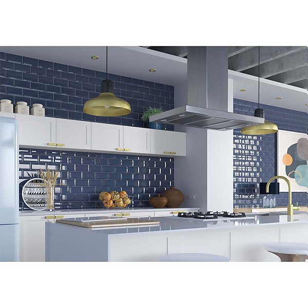 Metro Bevelled Navy Wall Tile - 200 x 100mm
