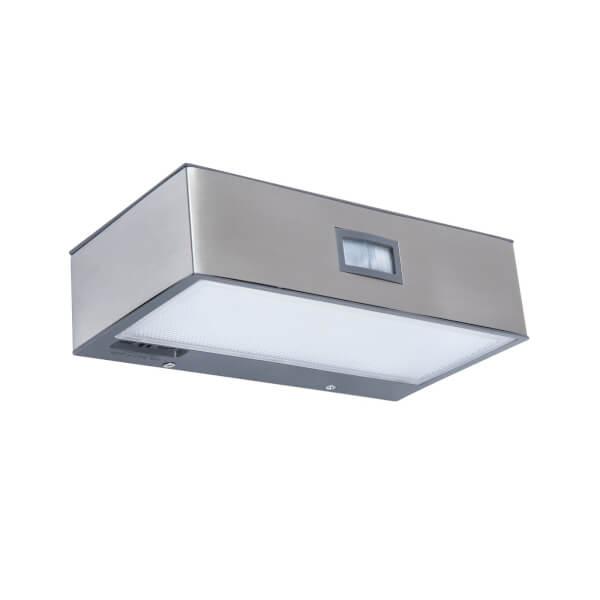 Lutec Brick Solar LED Outdoor Wall Light With PIR Motion Sensor