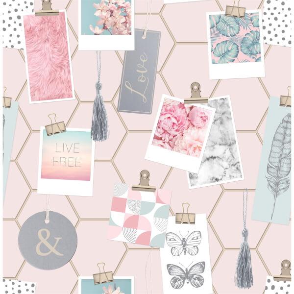 Fresco Clip Frames Pink Wallpaper