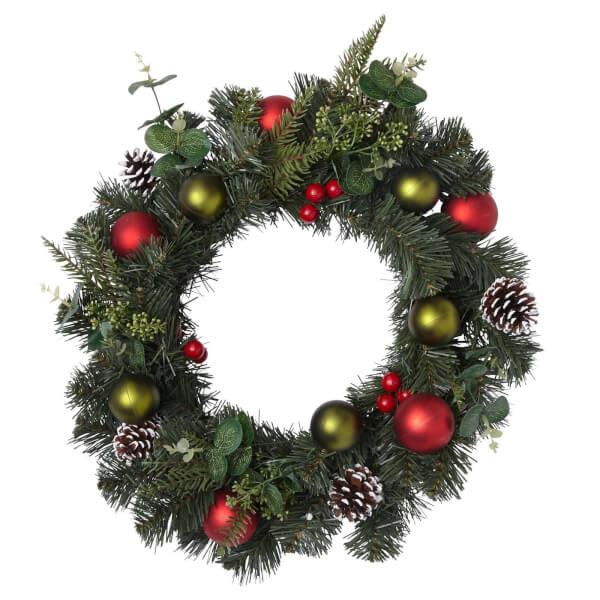 Deco Luxe Baubles Natural Wreath 50cm
