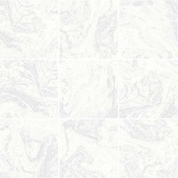 Superfresco Easy Large Marble Tile Silver Wallpaper