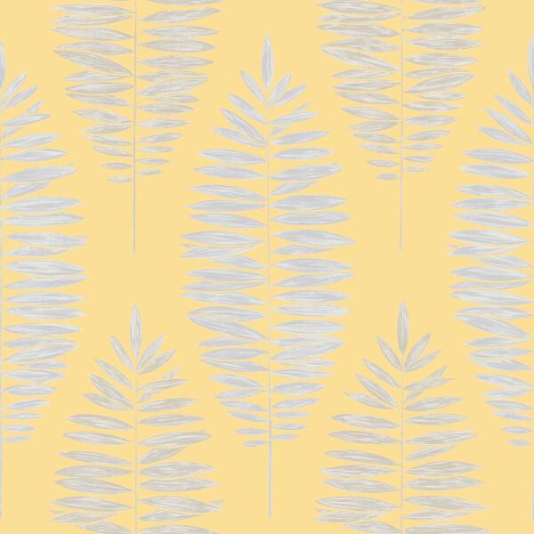 Boutique Leaf Smooth Metallic Yellow Wallpaper