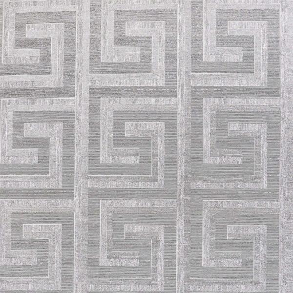 Arthouse Greek Key Foil Silver Wallpaper
