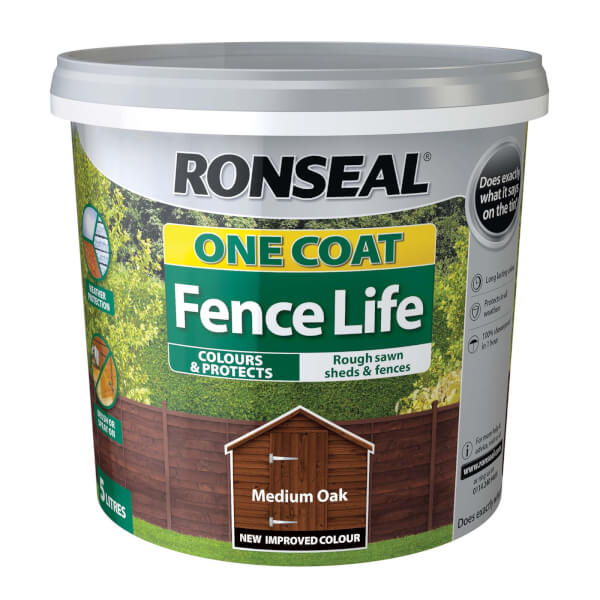 Ronseal One Coat Fence Life - Medium Oak - 5L
