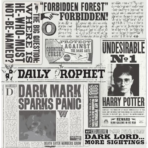 Harry Potter Daily Prophet Monochrome Wallpaper