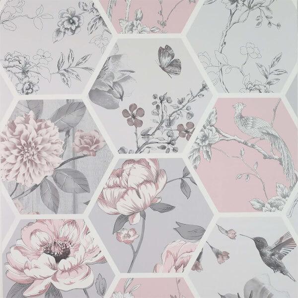 Arthouse Chinoise Decoupage Pink Wallpaper