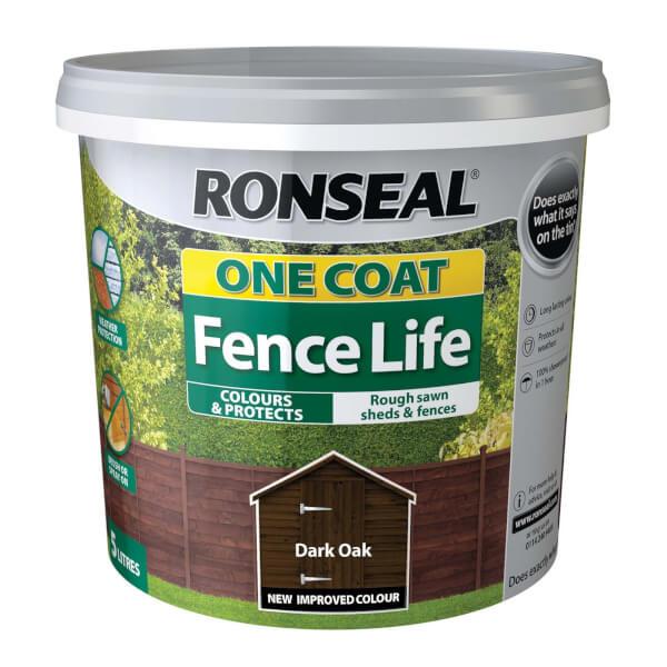 Ronseal One Coat Fence Life - Dark Oak - 5L
