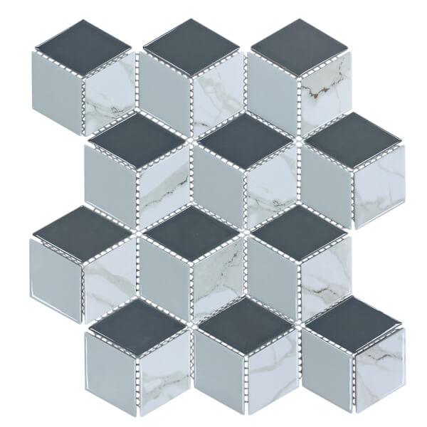 HoM Geo Grey Hex Mosaic Tile Sheet