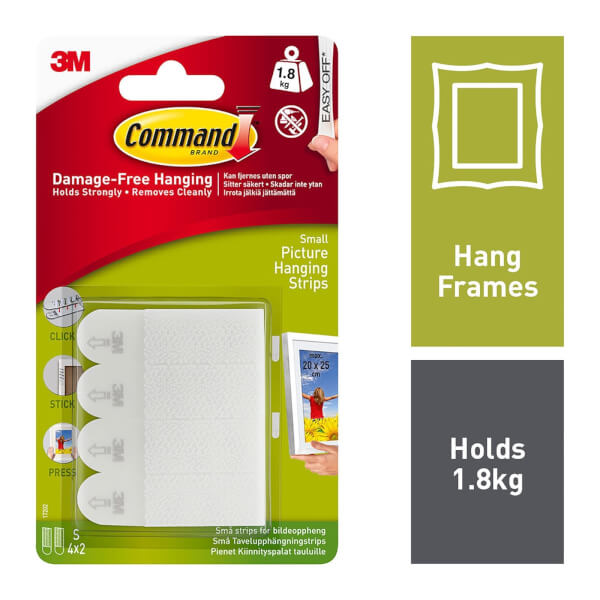 Command Small Picture Hanging Strips - 4 Sets