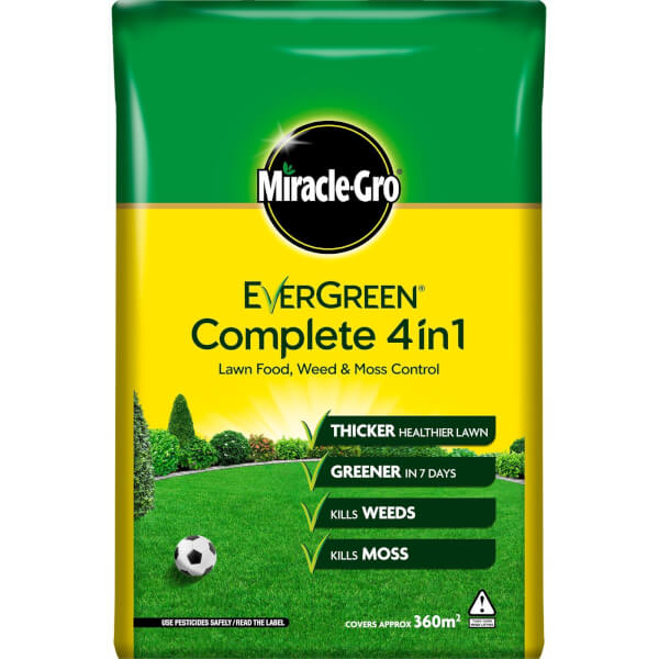 Miracle-Gro EverGreen Complete 4-in-1 Lawn Food, Weed & Moss Killer - 360m2