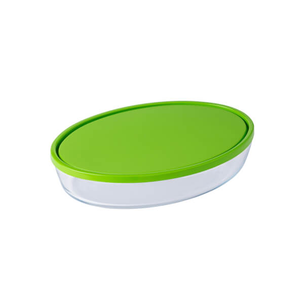Pyrex Cook & Store Oval Dish with Green Lid