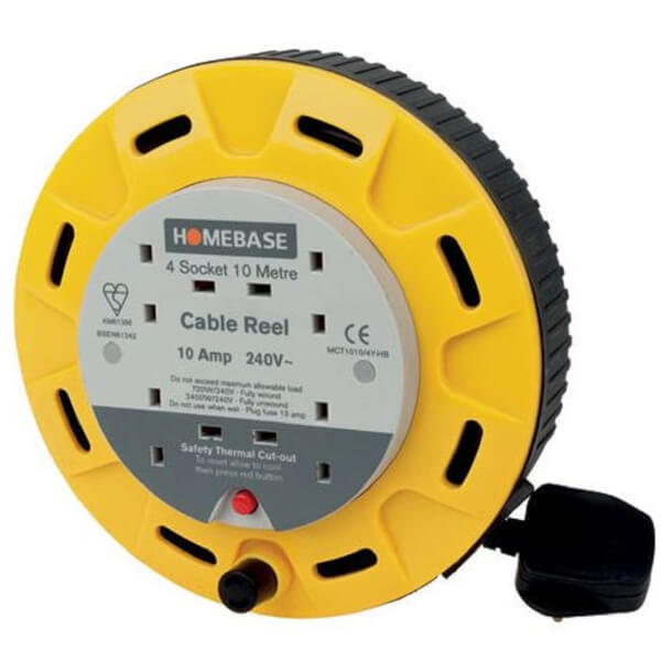 Masterplug 4 Socket Cassette Reel 10m Yellow
