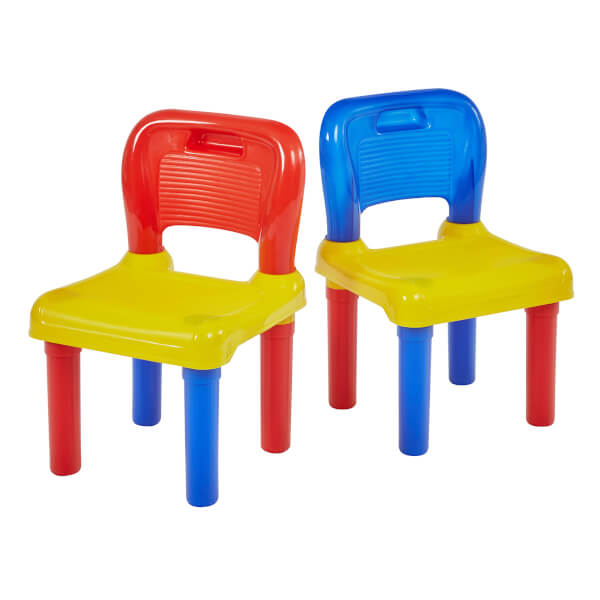 Two Mulitcoloured Plastic Chairs