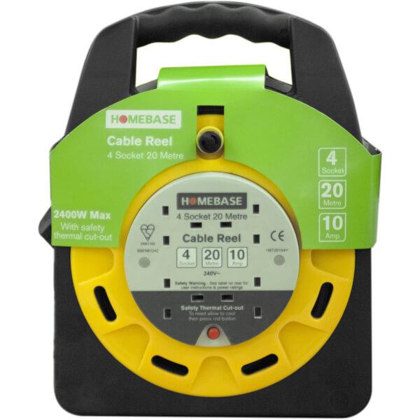 Masterplug 4 Socket Cable Reel 20m Yellow/Black