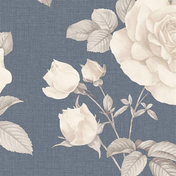 Belgravia Decor Rosa Smooth Navy Wallpaper