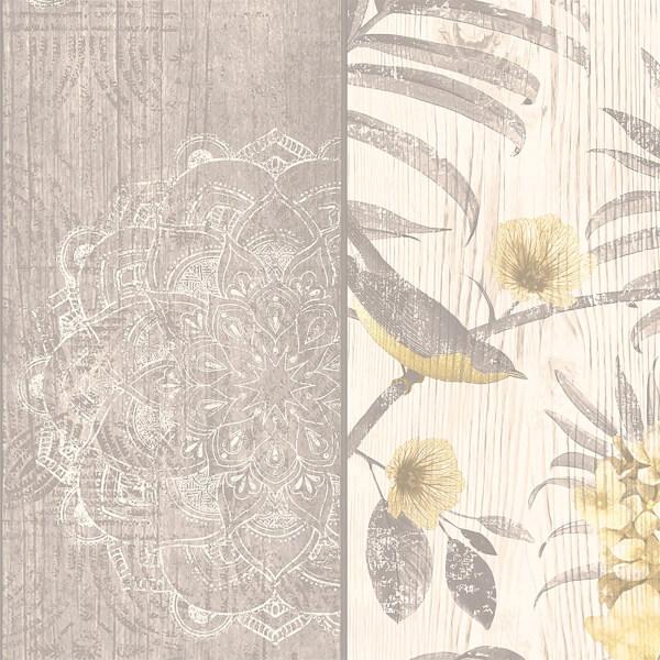 Belgravia Decor Rosa Smooth Yellow and Grey Wallpaper