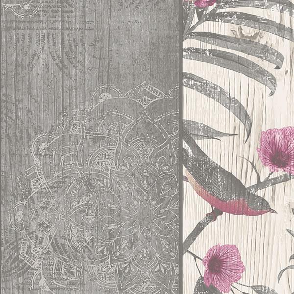 Belgravia Decor Rosa Smooth Fern Panel Charcoal Wallpaper