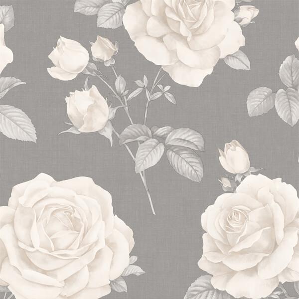 Belgravia Decor Rosa Smooth Floral Charcoal Wallpaper