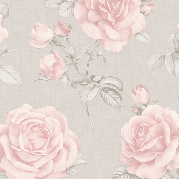 Belgravia Decor Rosa Smooth Floral Blush and Grey Wallpaper