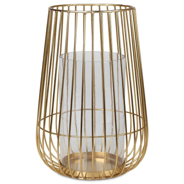 Wire and Glass Lantern - Gold