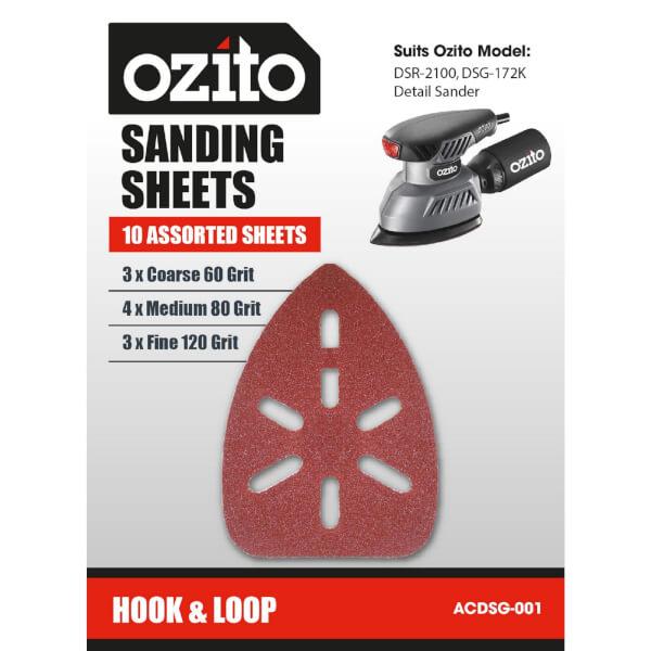 Ozito by Einhell DSR-2100U Detail Sandpaper Sheets - 10 Pack