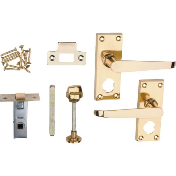 Victorian Door Handle Privacy Set - Polished Brass - 1 Pair