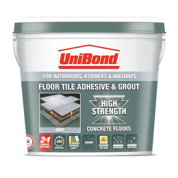 Unibond Ceramic Floor Tile Adhesive & Grout - Grey