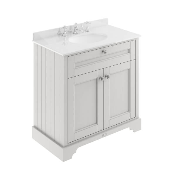 Balterley Harrington 800mm Cabinet with 3 Tap Hole Marble Top - Cashmere