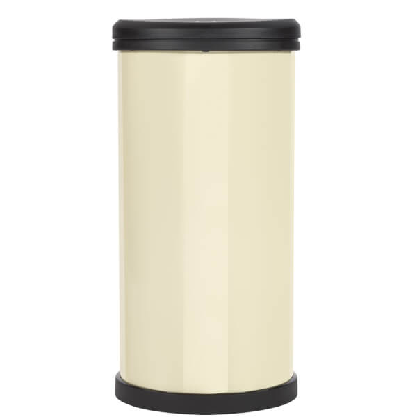 Curver 40L Metal Effect Plastic One Touch Deco Bin, Ivory